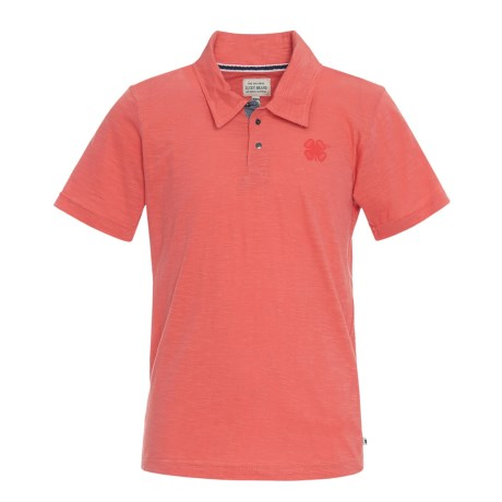 Lucky Brand Core Slub Polo Shirt - Short Sleeve (For Big Boys) in Spiced Coral
