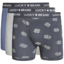 Lucky Brand Cotton Boxer Briefs - 3-Pack (For Men) in Heather Grey/Ombre Blue Print/Bijou Blue - Closeouts