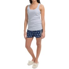 Lucky Brand Cotton Tank Top and Drawstring Shorts (For Women) in Floral Blue - Closeouts