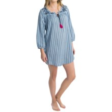 Lucky Brand Cozy Cotton Lawn Sleepshirt - 3/4 Sleeve (For Women) in Ink Stripe - Closeouts