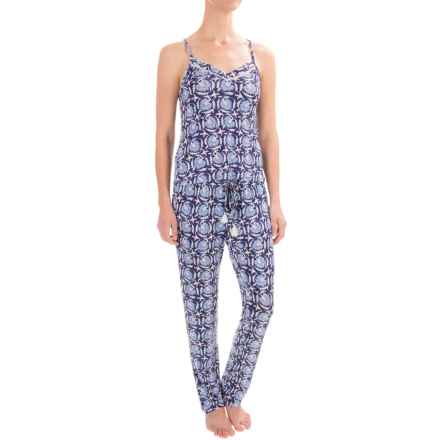 Lucky Brand Crochet Inserts Pajamas - Racerback, Sleeveless (For Women) in Indigo Floral - Closeouts