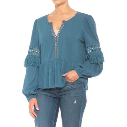Lucky Brand Cutout Peasant Top - Long Sleeve (For Women) in Blue - Closeouts