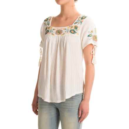 Lucky Brand Drop-Needle Embroidered Shirt - Square Neck, Short Sleeve (For Women) in Marshmellow - Closeouts