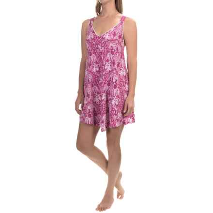 Lucky Brand Easy Breezy Maxi Slip - Cotton Blend, Sleeveless (For Women) in Rose Print - Closeouts