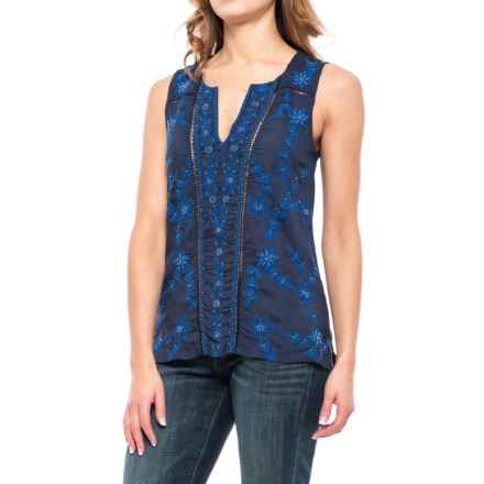 Lucky Brand Embroidered Beaded Shirt - Sleeveless (For Women) in American Navy - Closeouts