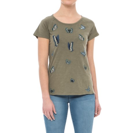 Lucky Brand Embroidered Butterfly T-Shirt - Short Sleeve (For Women) in Dark Olive