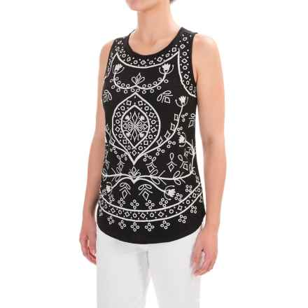 Lucky Brand Embroidered Eyelet Tank Top (For Women) in Black Multi - Closeouts
