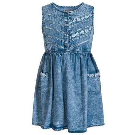 Lucky Brand Embroidered Flower Dress - Sleeveless (For Little Girls) in Baja Blue - Closeouts