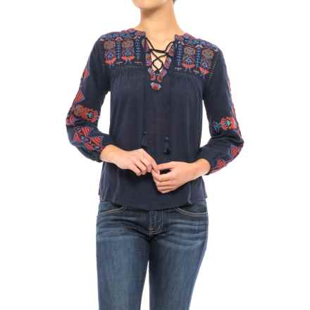 Lucky Brand Embroidered Lace Shirt - 3/4 Sleeve (For Women) in American Navy - Closeouts