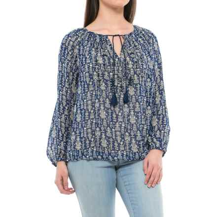 Lucky Brand Embroidered Peasant Top - Long Sleeve (For Women) in Blue Multi - Closeouts