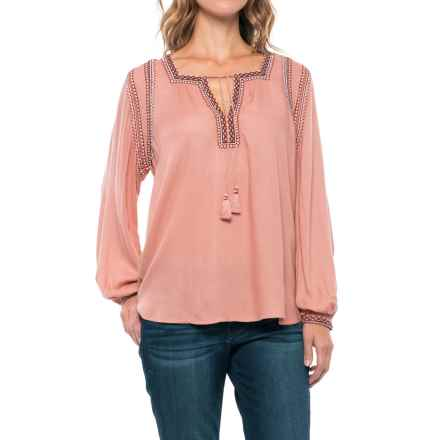 Lucky Brand Embroidered Peasant Top - Long Sleeve (For Women) in Misty Rose - Closeouts