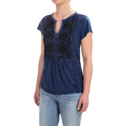 Lucky Brand Embroidered Peasant Top - Short Sleeve (For Women) in American Navy - Closeouts