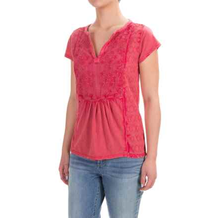 Lucky Brand Embroidered Peasant Top - Short Sleeve (For Women) in Bright Rose - Closeouts