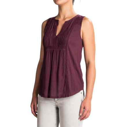 Lucky Brand Embroidered Pintuck Tank Top - V-Neck (For Women) in Fig - Closeouts
