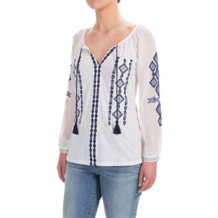 Lucky Brand Embroidered Shirt - 3/4 Sleeve (For Women) in Lucky White - Closeouts