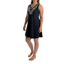 Lucky Brand Embroidered Split-Neck Chemise - Sleeveless (For Women) in Navy - Overstock