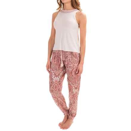 Lucky Brand Embroidered Tank Pajamas - Sleeveless (For Women) in Pink Paisley - Closeouts