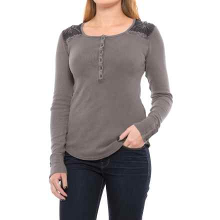 Lucky Brand Embroidered Thermal Henley Shirt - Long Sleeve (For Women) in Magnet Grey - Closeouts