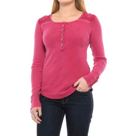 Lucky Brand Embroidered Thermal Henley Shirt - Long Sleeve (For Women) in Persian Red - Closeouts