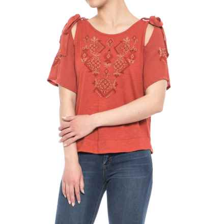 Lucky Brand Embroidered Tie Shoulder Shirt - Short Sleeve (For Women) in Heirloom Red - Closeouts