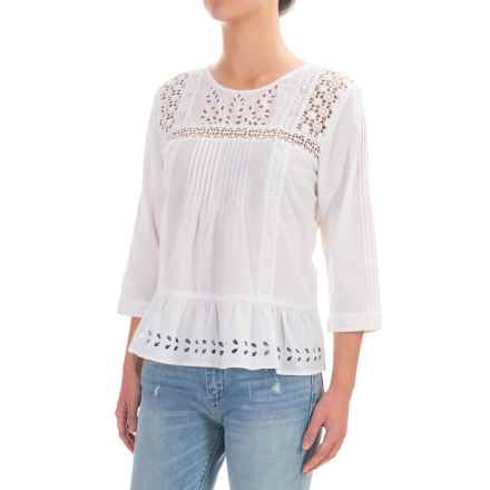 Lucky Brand Eyelet Peasant Top - 3/4 Sleeve (For Women) in Lucky White - Closeouts