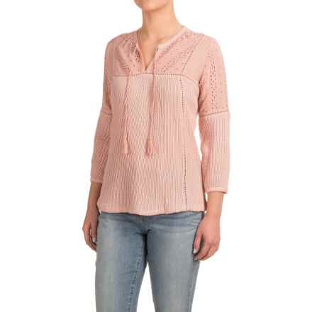 Lucky Brand Eyelet Peasant Top - 3/4 Sleeve (For Women) in Silver Pink - Closeouts