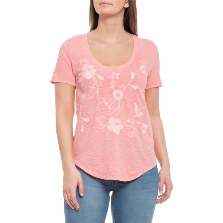 3367625cf1c Lucky Brand Flamingo Pink Floral Embroidered Shirt - Short Sleeve (For Women)  in Flamingo