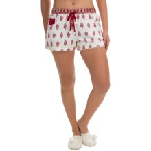 Lucky Brand Flannel Boxer Shorts (For Women) in Eggnog Kashmir - Closeouts