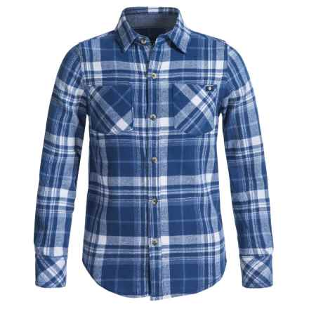 Lucky Brand Flannel Shirt - Long Sleeve (For Big Boys) in Dark Denim - Closeouts