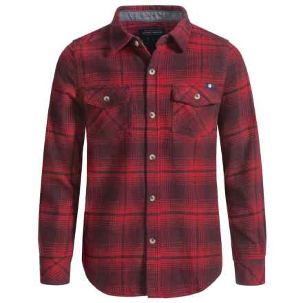 Lucky Brand Flannel Shirt - Long Sleeve (For Little Boys) in Deep Red - Closeouts