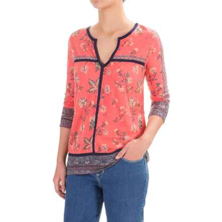 Lucky Brand Floral Border Shirt - V-Neck, Long Sleeve (For Women) in Red Multi - Closeouts