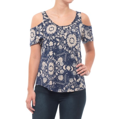 Lucky Brand Floral Cold-Shoulder Shirt - Short Sleeve (For Women) in Blue Multi