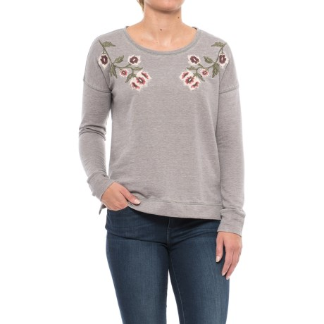 Lucky Brand Floral Embroidered Shirt - Long Sleeve (For Women) in Steel Grey