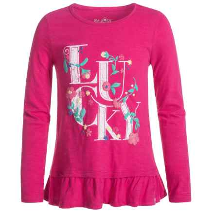 Lucky Brand Floral Lucky T-Shirt - Long Sleeve (For Little Girls) in Magenta - Closeouts