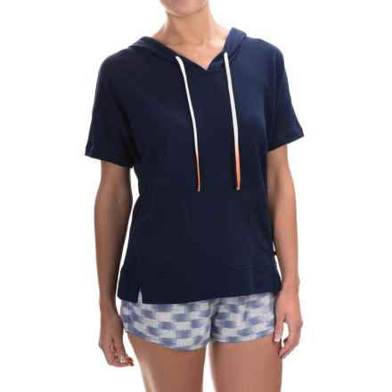 Lucky Brand French Terry Hoodie - Cotton Blend, Short Sleeve (For Women) in Indigo - Closeouts