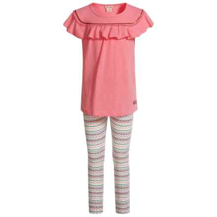 Lucky Brand Frilled Shirt and Leggings Set - Short Sleeve (For Girls) in Pink/ White W/ Print - Closeouts