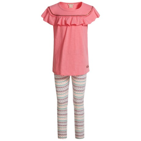 Lucky Brand Frilled Shirt and Leggings Set - Short Sleeve (For Girls) in Pink/ White W/ Print