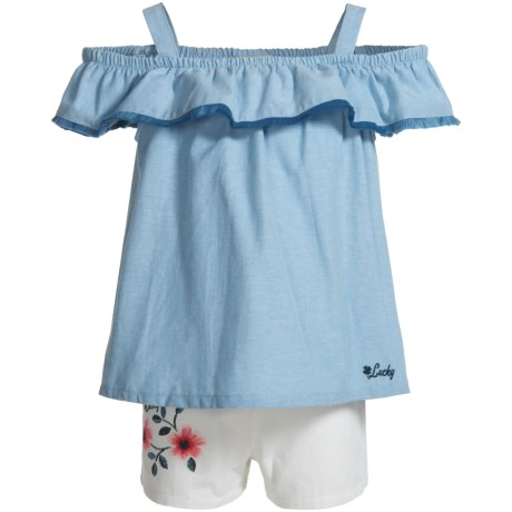 Lucky Brand Frilly Cold-Shoulder Shirt and Shorts Set - Short Sleeve (For Girls) in Blue Heather/White