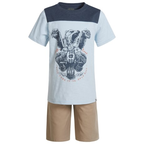 Lucky Brand Graphic T-Shirt and Shorts Set - Short Sleeve (For Boys) in Blue/Khaki