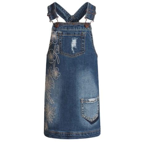 Lucky Brand Gwen Denim Jumper Dress - Sleeveless (For Little Girls) in Christie Wash