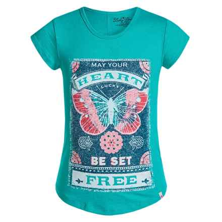 Lucky Brand Heart Be Set Free T-Shirt - Short Sleeve (For Big Girls) in Ceramic - Closeouts