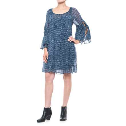 Lucky Brand Helen Dress - 3/4 Sleeve (For Women) in Blue Multi - Closeouts