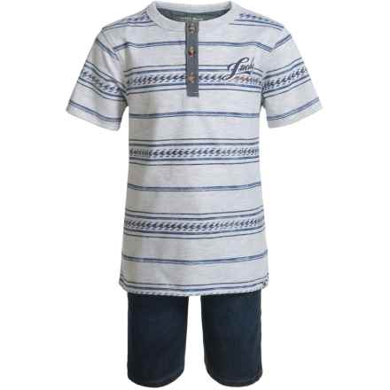 Lucky Brand Henley Shirt and Shorts Set - Short Sleeve (For Boys) in Grey Heather/Denim - Closeouts
