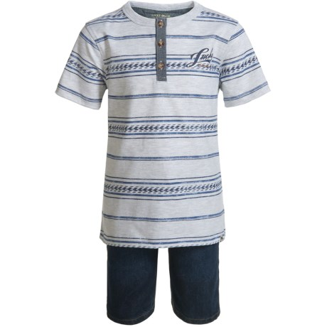 Lucky Brand Henley Shirt and Shorts Set - Short Sleeve (For Boys) in Grey Heather/Denim