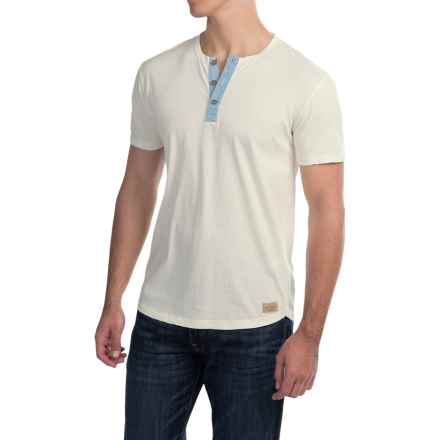 Lucky Brand Henley Shirt - Short Sleeve (For Men) in Marshmallow Kings Canyon - Closeouts