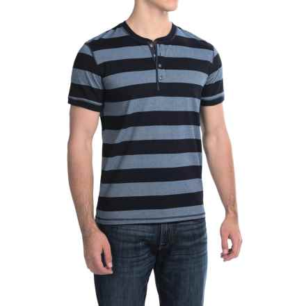 Lucky Brand Henley Shirt - Short Sleeve (For Men) in Multi Mocktwist Stripe - Closeouts