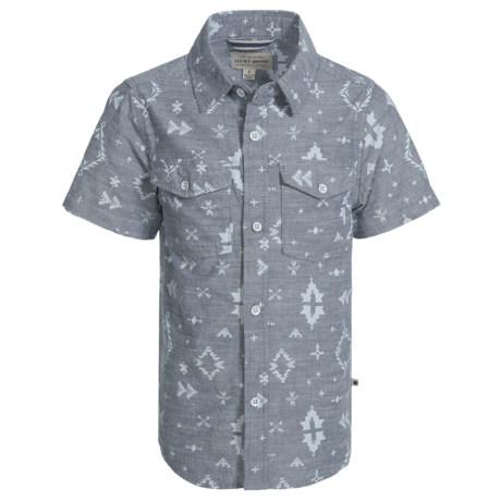 Lucky Brand Ikat Shirt - Short Sleeve (For Little Boys) in Blue Nights