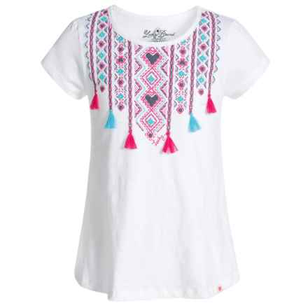 Lucky Brand Ikat Tassel T-Shirt - Short Sleeve (For Big Girls) in White - Closeouts