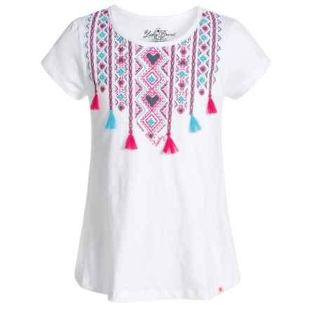 Lucky Brand Ikat Tassel T-Shirt - Short Sleeve (For Little Girls) in White - Closeouts