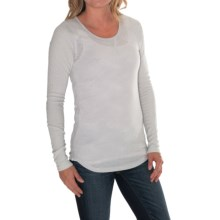 Lucky Brand Jacquard Thermal Shirt - Waffled Long Sleeve (For Women) in Soft Grey - Closeouts